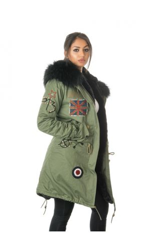 Stonetail Military Badged & Braided Fur Parka Coat