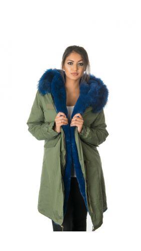 Stonetail Blue Fur Parka Coat