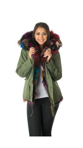 Stonetail Multi-Coloured Fox Fur Parka Jacket